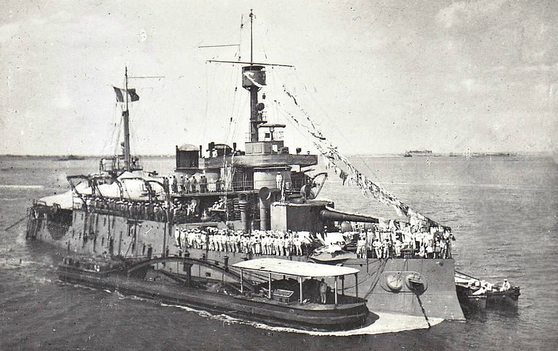 1886 to 1920 - REQUIN - Terrible Class Coast Defence Ship - 7000 tons - 84.6 x 18.0 - 1886 built - 2x10.8in., 6x4in. - 13 knots - 1920 sold for breaking - seen here in the Suez Canal in 1917.