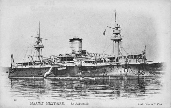 1878 to 1910 - REDOUBTABLE - Central Battery Ironclad - 9430 tons - 100.7 x 19.8 - 1878 Lorient Navy Yard - 7x10in., 6x5.5in, 4TT - 14.5 knots - 1878 Mediterranean, 1900 China, 03/10 decommisioned, 1912 broken up at Saigon - seen here after 1890.