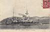 1890 to 1908 - HOCHE - Modified Amiral Baudin Class Battleship - 12150 tons - 89.0 x 21.2 - 1890 Loreint Naval Dockyard - 2x14in, 2x12in, 18x6.5in., 5TT - 16 knots - 1895 after armoured mast replaced with pole mast, 1902 single funnel replaced with two side-by-side funnels, 1908 decommisoned, 12/13 sunk as gunnery target - posted March 8th, 1907 - post 1902 picture.