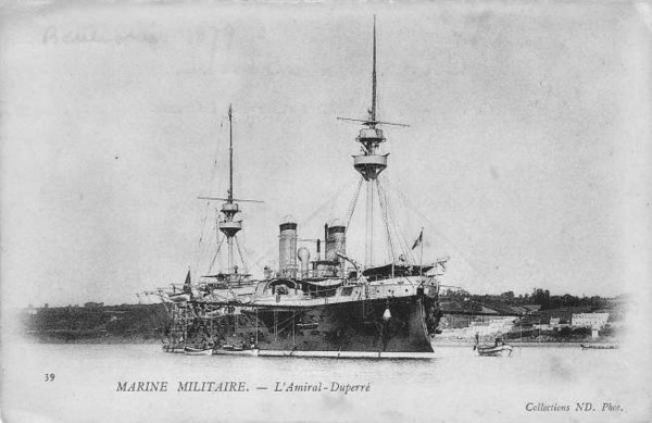 1883 to 1906 - AMIRAL DUPERRE - Amiral Duperre Class Barbette Battleship - 11200 tons - 98.9 x 20.4 - 1883 Chantiers de la Seyne - 14x4in., 15x5.5in - 14 knots - 1883 Mediterranean Squadron, 1898 Northern Fleet, 12/06 decommisioned, target ship, 1909 broken up.