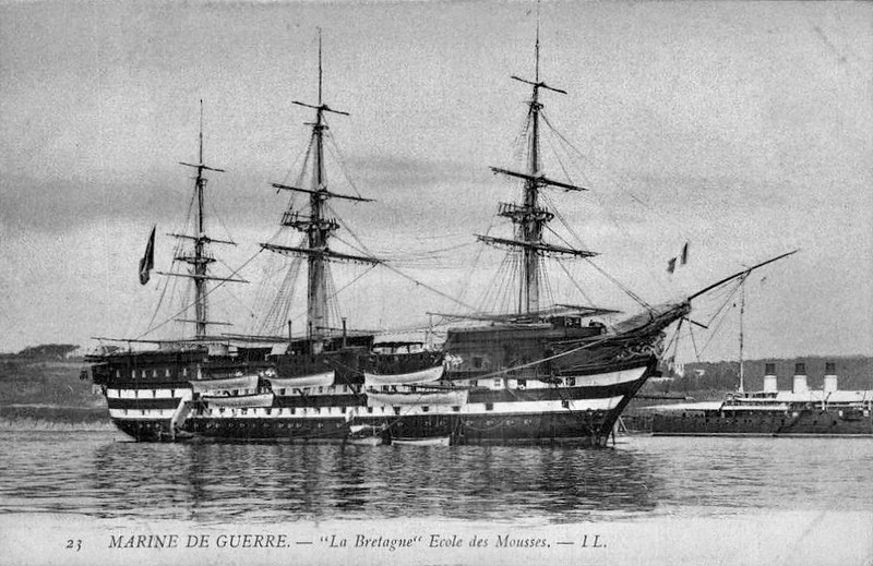 1855 to 1866 - BRETAGNE - Three-Decked Ship of the Line - 6875 tons - 81.0 x 18.1 - 1855 Arsenal de Brest - 130 guns on three decks - 12.6 knots - fitted with steam engine while bulding - 1855 Crimean War, 1866 Barracks Ship (Cadet Training Ship), 1880 sold for breaking.