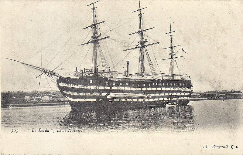 1863 to 1890 - BORDA - Schoolship - 5826 tons - 64,5 x 11.1 - 1849 Brest Navy Yard as VALMY - 120 guns - largest wooden ship-of-the-line ever built in France - 10/54 Bombardment of Sebastopol, 1855 disarmed, 1863 to French Naval Academy as Schoolship BORDA, 1890 INTREPIDE, 1891 decommisioned and scrapped.