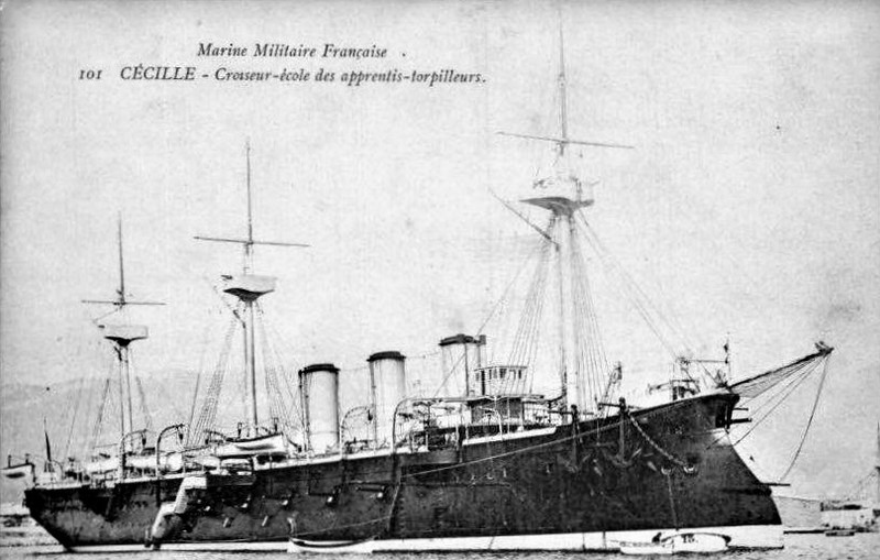1890 to1919 - AMIRAL CECILLE - Protected Cruiser - 5900 tons - 115.5 x 15.0 - 1890 Chantiers de la Mediterranee, La Seyne - 8x165mm, 10x139mm, 6x47mm, 14x37mm, 4TT - 19 knots - 1907 Torpedo Training Ship at Toulon, 1919 decommissioned, broken up.