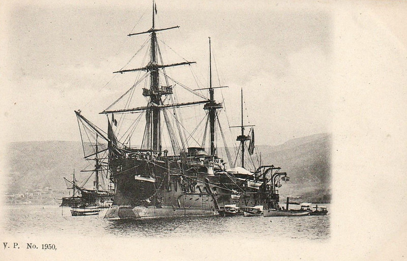 1877 to 1900 - COLBERT - Colbert Class Central Battery Ironclad - 8750 tons - 101.1 x 17.5 - 1877 Arsenal de Brest - 8x274mm, 1x240mm, 8x139mm - 14 knots - 1879 to 1890 Flagship, Mediterranean Fleet, 1890 to Reserve, 1895 disarmed and decommissioned, 1900 stricken, 1909 sold for breaking.