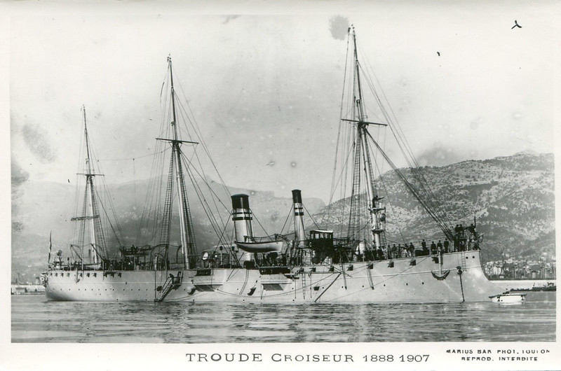1891 to 1908 - TROUDE - Troude Class Protected Cruiser - 1923 tons - 95.0 x 9.0 - 1891 Forges et Chantiers de la Gironde, Bordeaux - 4x139mm, 4x47mm, 4x37mm, 4TT, 150 mines - 20 knots - 1891 Guardship, Levant, 1901 major refit, 1906 Haiti, 1908 decommissioned.