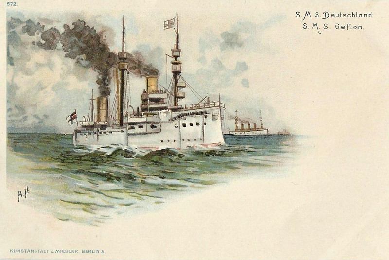 1875 to 1904 - DEUTSCHLAND - Kaiser Class Central Battery Ironclad - 8940 tons - 1875 Samuda Bros., London - 8x263mm - 14 knots - 1897 rebuilt as above, 05/04 harbour service renamed JUPITER, 05/06 decommissioned, target ship, 1908 sold for breaking, In the background is the GEFION (Unprotected Cruiser) -1895 to 1916 - 4275 tons - 6x105mm, 6x50mm, 2TT - 1901 to Reserve, 1916 barracks ship, 1920 converted to freighter ADOLF SOMMERFELD, 1923 broken up.