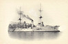 1898 to 1915 - HERTHA - Victoria Luise Class Cruiser - 6491 tons - 110.6 x 17.4 - 1898 AG Vulkan, Stettin - 2x210mm, 8x150mm, 10x88mm, 3TT - 19 knots - 1898 East Asia Sqdn, 1900 Boxer Rebellion, 1906 refit and modernisation at Danzig (3 funnels trunked into 2), 1908 Cadet Training Ship, 09/09 USA, 1912 Mediterranean, 1913 Atantic Cruise, 08/14 5th Scouting Group, 12/14 Coastal Defence Ship, 1915 Barracks Ship, Seaplane Base, Flensburg, 12/19 sold for breaking.