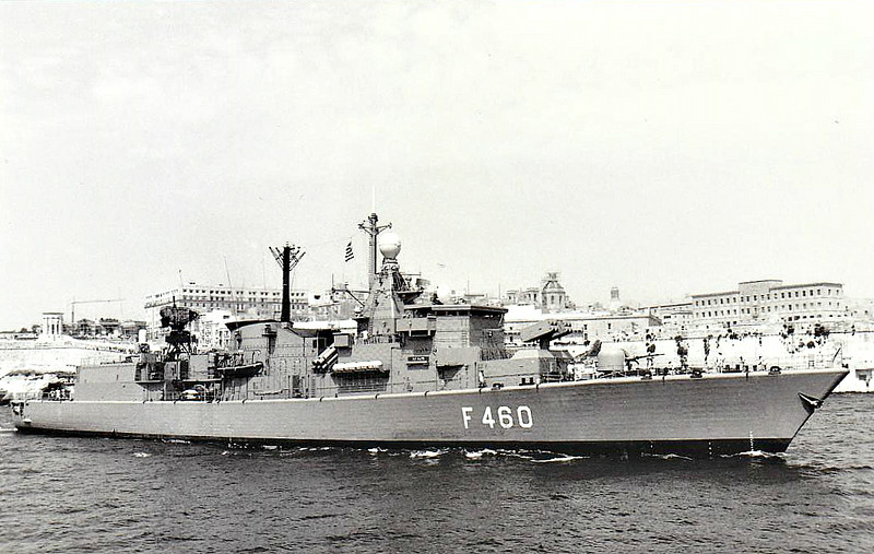 1993 to DATE - AIGAION (F460) - Elli Class Frigate - 3500 tons - 130.0 x 14.5 - 1980 Royal Schelde Shipyards - 2x76mm, 2xquad Harpoon SAM, 1x8 Sea Sparrow SAM, 3x30mm CIWS, 4TT, 1 h/c - 30 knots - 1978 commissioned to Netherlands Navy as BANCKERT (F810), 1993 decommissioned, to Greece as AIGAION (F460) - still in service.
