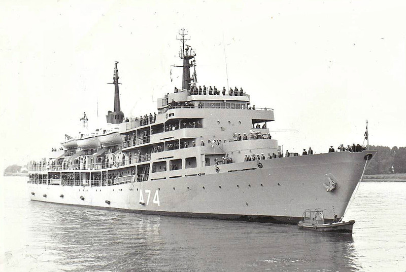 1981 to DATE - ARIS (A74) - Training Ship - 2630 tons - 100.0 x 11.0 - 1x3.5in., 2x40mm, 4x20mm, 1 helicopter - 18 knots - can be used as transport or hospital ship in wartime.