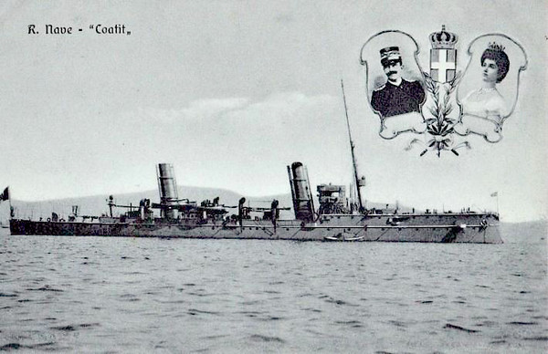 1900 to 1920 - COATIT - Agordat Class Torpedo Cruiser - 1292 tons - 91.6 x 9.3 - 1900 R. Cantiere di Castellamare di Stabia - 12x76mm, 2TT - 22 knots - 1918 converted to minelayer, 06/20 sold for breaking.