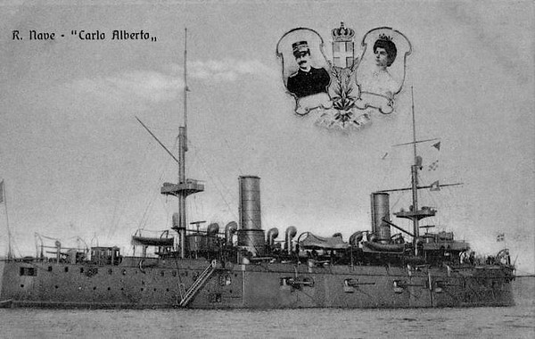 1898 to 1918 - CARLO ALBERTO - Vettor Pisani Class Armoured Cruiser - 6614 tons - 105.7 x 18.0 - 1898  Arsenale Di La Spezia Navy Yard - 12x150mm, 4x130mm - 18 knots - 1907 Torpedo Training Ship, 1918 converted to troop transport, renamed ZENSON, 06/20 sold for breaking.