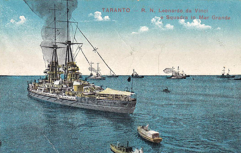 1914 to 1916 - LEONARDO DA VINCI - Conte di Cavour Class Dreadnought - 25086 tons - 176.1 x 28.0 - 1914 Otero Terni Orlando, Sestri Ponente - 13x305mm, 18x120mm, 22x76mm, 3TT - 21 knots - 02/08/16 internal explosion at Taranto, capsized and sank, 249 dead, 17/09/19 raised and refloated keel upwards, 26/03/23 sold for breaking.