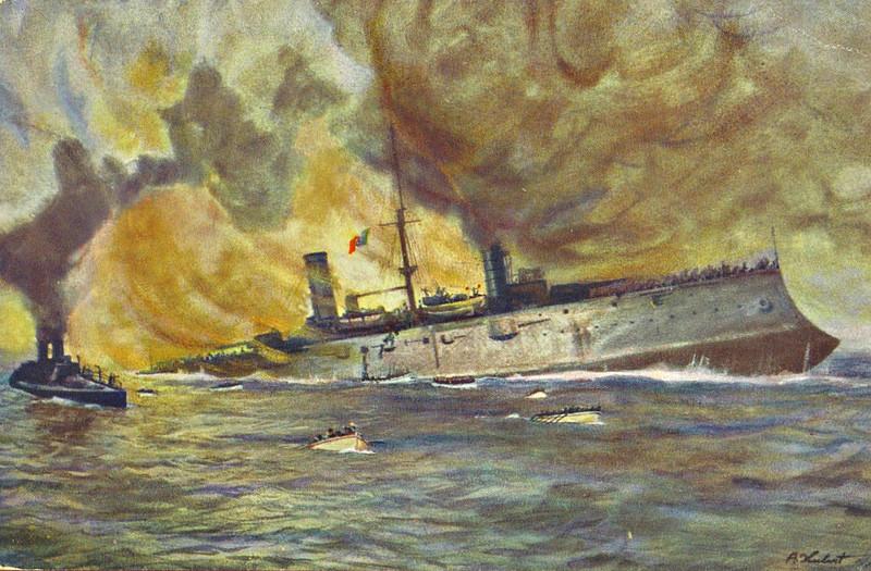 1901 to 1915 - GIUSEPPE GARIBALDI - Garibaldi Class Armoured Cruiser - 7972 tons - 111.8 x 18.3 - 1901 Cantieri Ansaldo, Genova - 1x254mm, 2x203mm, 14x152mm, 10x76mm, 6x47mm, 4TT - 20 knots - 18/07/15 torpedoed and sunk by Austrian submarine U4 off Cattaro.
