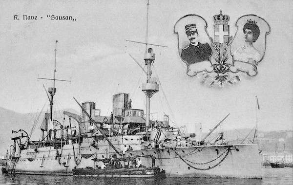 1885 to 1920 - GIOVANNI BAUSAN - Protected Cruiser - 3082 tons - 85.3 x 12.8 - 1885 Armstrong Mitchell & Co., Elswick - 2x250mm, 6x150mm, 3TT - 17 knots - 1887 Eritrea, 1905 Training Ship, 1912 Italo-Turkish War, flagship in Cyrenaica, 1912 Distilling Ship, 1915 Seaplane Depot Ship, Brindisi, 1919 decommissioned, 1920 sold for breaking.