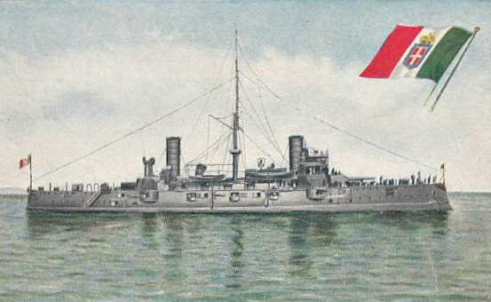 1901 to 1922 - VARESE - Garibaldi Class Armoured Cruiser - 7972 tons - 111.8 x 18.3 - 1901 Cantieri Orlando, Livorno - 1x254mm, 2x203mm, 14x152mm, 10x76mm, 6x47mm, 4TT - 20 knots - 1912 Italo-Turkish War, 1920 Cadet Training Ship, 1922 sold for breaking.