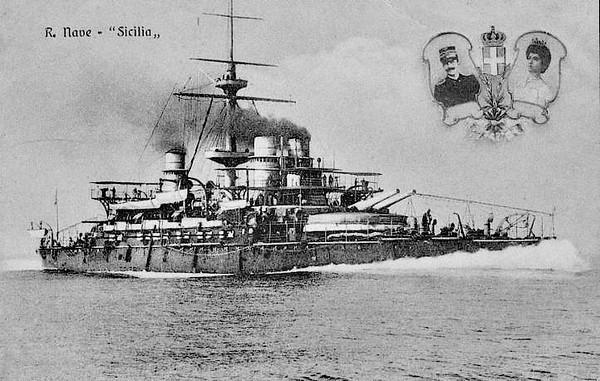 1895 to 1914 - SICILIA - Re Umberto Class Battleship - 13641 tons - 130.7 x 23.4 - 1895 Arsenale di Venezia - 4x343mm, 8x152mm, 20x57mm, 10x37mm, 5TT - 20 knots - 1911/12 Italo-Turkish War, 07/14 Depot Ship, Taranto, 01/23 sold for breaking.