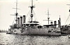 1900 to 1945 - IZUMO - Izumo Class Armoured Cruiser - 9750 tons - 132.3 x 21.0 - 1900 Armstrong Whitworth & Co., Newcastle - 4x8in, 14x6in, 4TT - 20 knots - 1904 Flagship, IJN 2nd Fleet, 14/08/04 Battle of Ulsan, hit 20 times, damaged, 26/05/05 Battle of Tsushima, hit 9 times, 34 dead, 1913 Mexican Revolution, 1915 Mediterranean, 12/18 Scapa Flow to guard interned German Fleet, 03/19 to Japan with ex-German U -Boats, 09/21 1st Class Coast Defence Ship, Training Ship, 1934 Battle of Shanghai, sank Chinese torpedo boat, 08/12/41 Shanghai, captured USS WAKE, sank HMS PETEREL, 07/42 fitted with AA guns, re-rated as !st Class Cruiser, Training Ship, 24/07/45 sunk in air attack on Kure, 1947 hulk raised and scrapped - seen here in 09/26.