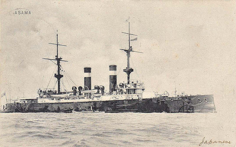 1899 to 1942 - ASAMA - Asama Class Armoured Cruiser - 9700 tons - 124.4 x 20.5 - 1899 Armstrong Whitworth & Co., Elswick - 4x8in., 14x6in., 12x3in., 5TT - 21 knots - 1900 Boxer Rebellion, 09/02/04 Battle of Chemulpo Bay, 27/05/05 Battle of Tsushima, 1914-18 Pacific Patrols, 1920 Navigation Training Ship, 14/10/35 ran aground on Kurahashi Island, badly damaged keel, 1942 disarmed, static training ship, 1944 barracks, 11/45 decommisioned, 1947 sold for breaking - posted May 3rd, 1905.