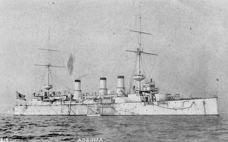 1900 to 1927 - AZUMA - Azuma Class Armoured Cruiser - 9307 tons - 131.5 x 21.0 - 1900 Ateliers et Chantiers de la Loire, Saint-Nazaire - 4x203mm, 12x152mm, 12x76mm, 5TT - 20 knots - 09/02/04 Battle of Port Arthur, 06/03/04 bombarded Vladivostock, 14/08/04 Battle of Ulsan, 27/05/05 Battle of Tsushima, hit 15 times, 10 dead, 14/06/05 captue of Sakhalin Island, 1906 Navigational Training Ship, 10/27 hulked as training ship, 15/07/45 sunk by aircraft from TF38, raised and scrapped.