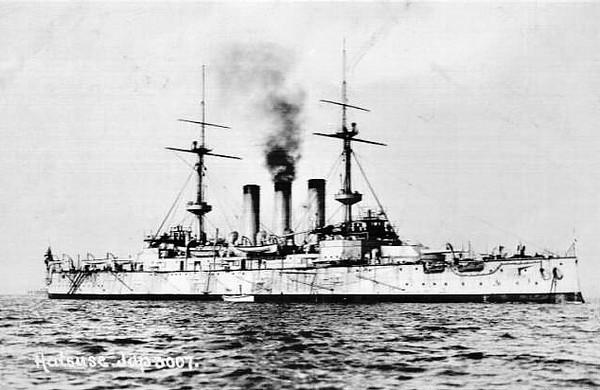 1901 to 1904 - HATSUSE - Shikishima Class Battleship - 14850 tons - 133.5 x 23.3 - 1901 Armstrong Mitchell & Co., Elswick - 4x305mm, 14x152mm, 20x76mm, 4TT - 18 knots - 15/05/04 struck Russian mines off Port Arthur, magazine exploded, sank immediately.