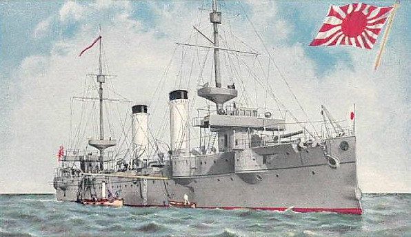 1899 to 1928 - CHITOSE - Kasagi Class Protected Cruiser - 4979 tons - 114.1 x 14.9 - 1899 Union Iron Works, San Francisco - 2x203mm, 10x120mm, 12x76mm, 5TT - 22.5 knots - 09/02/04 Battle for Port Arthur, 10/08/04 Battle of the Yellow Sea, 21/08/14, Battle of Koraskov, together with TSUSHIMA sank Russian cruiser NOVIK, 27/05/05 Battle of Tsushima, sank a Russian destroyer, 1907 World cruise, 09/21 2nd Class Coast Defence Vessel, 04/28 decommissioned, renamed HAIKAN No.1, 19/07/31 sunk as target for dive bombers off Shikoku.