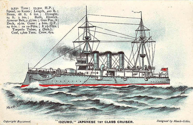 1900 to 1945 - IZUMO - Izumo Class Armoured Cruiser - 9750 tons - 132.3 x 21.0 - 1900 Armstrong Whitworth & Co., Newcastle - 4x8in, 14x6in, 4TT - 20 knots - 1904 Flagship, IJN 2nd Fleet, 14/08/04 Battle of Ulsan, hit 20 times, damaged, 26/05/05 Battle of Tsushima, hit 9 times, 34 dead, 1913 Mexican Revolution, 1915 Mediterranean, 12/18 Scapa Flow to guard interned German Fleet, 03/19 to Japan with ex-German U -Boats, 09/21 1st Class Coast Defence Ship, Training Ship, 1934 Battle of Shanghai, sank Chinese torpedo boat, 08/12/41 Shanghai, captured USS WAKE, sank HMS PETEREL, 07/42 fitted with AA guns, re-rated as !st Class Cruiser, Training Ship, 24/07/45 sunk in air attack on Kure, 1947 hulk raised and scrapped.