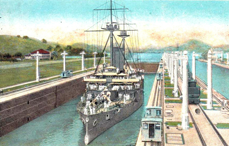 1899 to 1942 - ASAMA -  Asama Class Armoured Cruiser - 9700 tons - 124.4 x 20.5 - 1899 Armstrong Whitworth & Co., Elswick - 4x8in., 14x6in., 12x3in., 5TT - 21 knots - 1900 Boxer Rebellion, 09/02/04 Battle of Chemulpo Bay, 27/05/05 Battle of Tsushima, 1914-18 Pacific Patrols, 1920 Navigation Training Ship, 14/10/35 ran aground on Kurahashi Island, badly damaged keel, 1942 disarmed, static training ship, 1944 barracks, 11/45 decommisioned, 1947 sold for breaking - seen here in the Miraflores Locks.