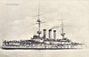 1900 to 1923 - SHIKISHIMA - Shikishima Class Battleship - 14850 tons - 133.5 x 23.3 - 1900 Thames Ironworks, Balckwall - 4x305mm, 14x152mm, 20x76mm, 4TT - 18 knots - 09/02/04 Battle of Port Arthur, 10/08/04 Battle of the Yellow Sea, 27/05/05 Battle of Tsushima, sank Russian Armed Merchant Cruiser URAL, 1914 Sasebo, 09/21 Submarine Training Ship, 04/23 training hulk at Sasebo, 01/48 broken up.