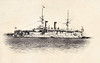 1905 to 1915 - IKI - Imperator Aleksandr II Class Battleship - 9594 tons - 105.6 x 20.4 - 1891 Franco Prussian Shipyard, St Petersburg as IMPERATOR NIKOLAI I - 2x305mm, 4x229mm, 8x152mm, 10x47mm, 8x37mm, 6TT - 14 knots - 1892 USA, 1893 Mediteranean Fleet, 1895 Pacific, 1898 Baltic, 1901 Mediterranean, 1904 3rd Pacific Sqdn., 27/05/05 Battle of Tsushima, captured, 1905 Japanese Navy, renamed IKI, Gunnery Training Ship, 05/15 decommisioned, sunk as gunnery target - seen here while still in Russian service.