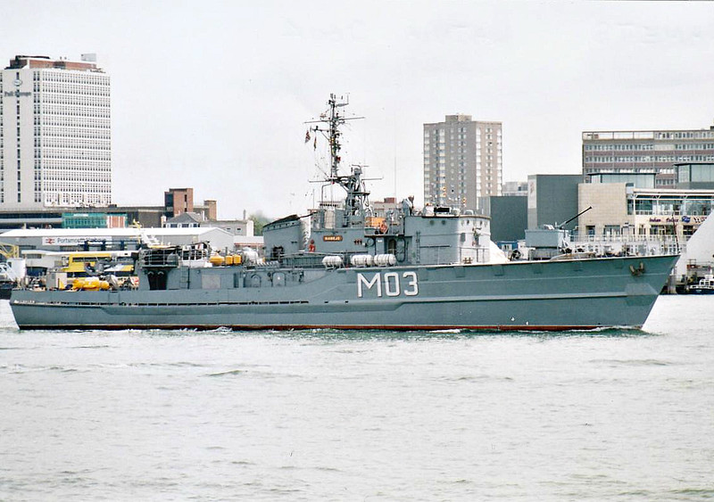 1999 to 2008 - NEMEJS (M03) - Lindau Class Type 331 Minesweeper - 463 tons - 47.1 x 8.3 - 1960 Burmester, Bremen - 1x40mm - 16.5 knots - 1960 commissioned to West German Navy as VOLKLINGEN (M1087), 1979 converted to Minehunter, 1999 to Latvia as NEMEJS (M03), 2008 decommissioned - seen here at Portsmouth in 2004.
