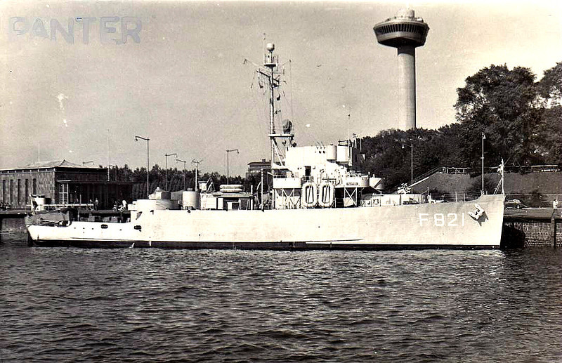 1954 to 1987 - PANTER (F821) - Wolf Class Corvette - 975 tons - 56.2 x 10.0 - 1954 Avondale Marine Ways Inc., New Orleans - launched as USN PCE1608 but completed as Dutch PANTER (F821) - 1987 decommissioned.