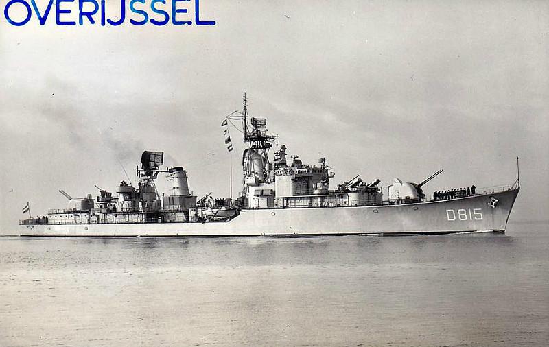 1957 to 1982 - OVERIJSSEL (D815) - Friesland Class Destroyer - 3070 tons - 116.0 x 11.7 - 1957 Scheeps Wilton Fijenoord - 4x120mm, 6x40mm, 8x357mm ASROC - 36 knots - 1982 to Peru as COLONEL BOLOGNESI (DD70), 1990 decommisioned.