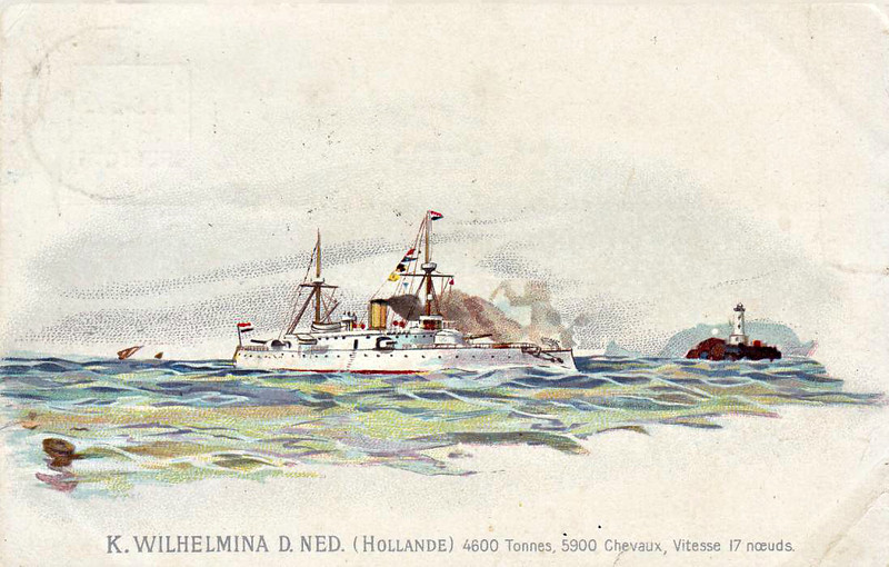 1894 to 1910 - KONINGIN WILHELMINA DER NEDERLANDEN - Protected Cruiser - 4530 tons - 99.8 x 14.9 - 1894 Rijkswerf, Amsterdam - 1x11in., 1x8.2in, 2x6.7in., 4x3in., 4TT - 17 knots - 1894 Dutch East Indies, 1900 Boxer Rebellion, 03/10 decommissioned, broken up at Ijmuiden - posted 14/04/05 in Toulon.