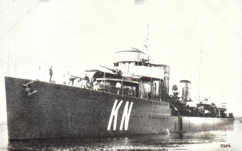 1928 to 1942 - KOERTENAER (KN) - Admiralen Class Destroyer - 1680 tons - 98.1 x 9.5 - 1928 Scheeps Burgerhouts, Rotterdam - 4x4,7in., 2x3in.AA, 6TT - 34 knots - 1928 Dutch East Indies, 18/02/42 Battle of the Badung Strait, damaged by grounding, 27/02/42 Battle of the Java Sea, torpedoed by IJN cruiser HAGURO, 113 survivors.