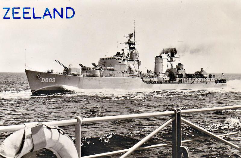 1955 to 1979 - ZEELAND (D809) - Holland Class Destroyer - 2185 tons - 113.1 x 11.4 - 1955 Royal Schelde Dockyard - 4x120mm, 1x40mm, 8x357mm ASROC - 37 knots - 1979 decommisioned.