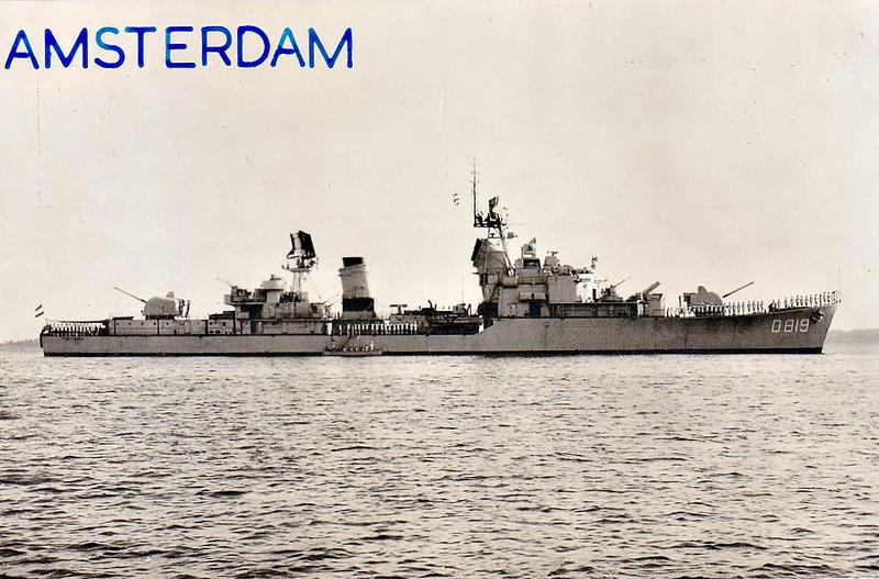 1958 to 1980 - AMSTERDAM (D819) - Friesland Class Destroyer - 3070 tons - 116.0 x 11.7 - 1958 Amsterdam Dockyard - 4x120mm, 6x40mm, 8x357mm ASROC - 36 knots - 1980 to Peru as VILLAR (DD77), 1991 decommisioned.