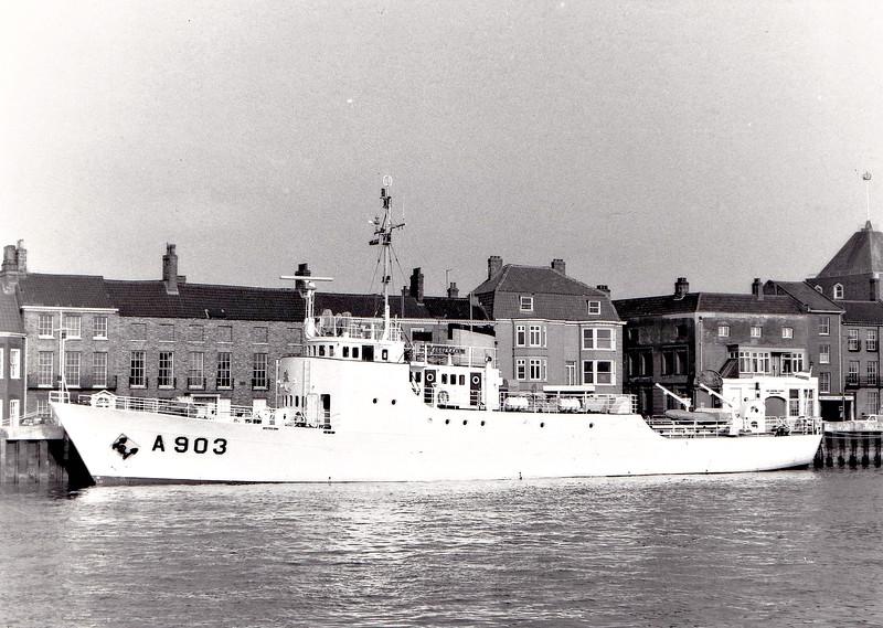 1951 to DATE - ZEEFAKKEL (A903) - Research Vessel - 355 tons - 45.4 x 7.5 - 1951 Scheeps J&K Smit, Kinderdijk - still in service - seen here at Great Yarmouth, 04/83.