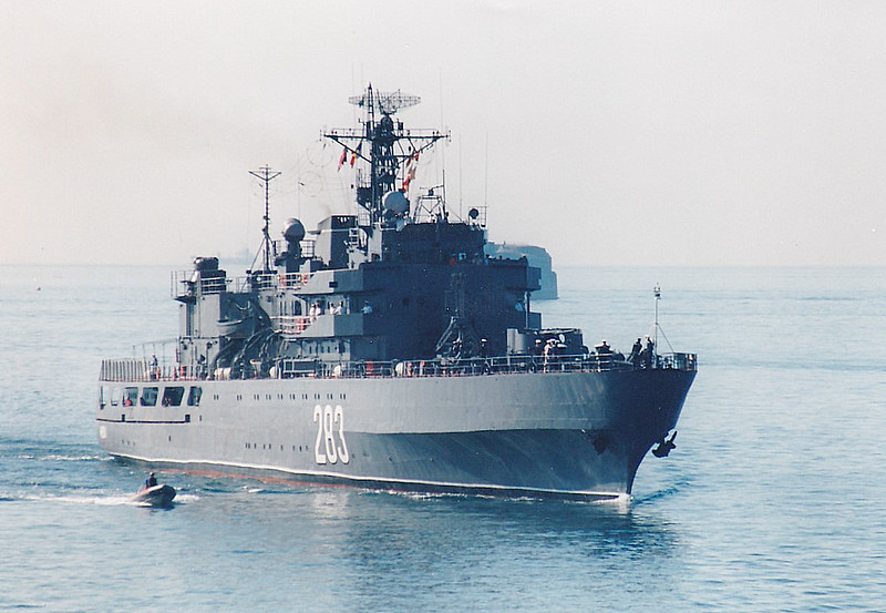 1982 to DATE - MIDIA (283) - Croitor Class Training Ship - 3500 tons - 108.0 x 13.5 - 1982 Braila Shipyard - 8xStrela SAM, 2x57mm, 4x30mm, 2x5-252mm RBU ASRL, 1 h/c - 16 knots - seen here at Portsmouth.