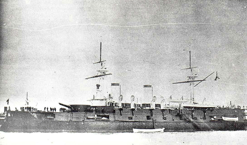 1891 to 1905 - IMPERATOR NIKOLAI I - Imperator Alekasandr II Class Battleship - 9748 tons - 105.6 x 20.4 - 1891 Franco Prussian Shipyard, St Petersburg - 2x12in., 8x6in., 10x47mm, 8x37mm, 6TT - 14 knots - 1895 Pacific, 1896 Mediterranean, 1898 Baltic for refit, 1901 Mediterranean, 1904 Third Pacific Squadron, 05/05 Battle of Tsushima, slightly damaged, surrendered, 06/05 to Japanese Navy as IKI, gunnery training ship, 05/15 decommisioned, 10/15 sunk as a target.