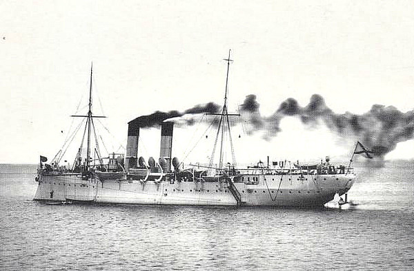 1899 to 1904 - AMUR - Amur Class Minelayer - 3058 tons - 91.4 x 12.9 - 1899 Baltic Shipyard, St Petersburg - 5x3in., 7x47mm, 1TT, 300 mines - 18 knots - 1899 Pacific Far East Squadron, 08/12/04 hit by a number of 11in. shells whilst in drydock, knocked onto port side, hit by a further 30 shells, sank, raised by Japanese and broken up - seen here in 1901.