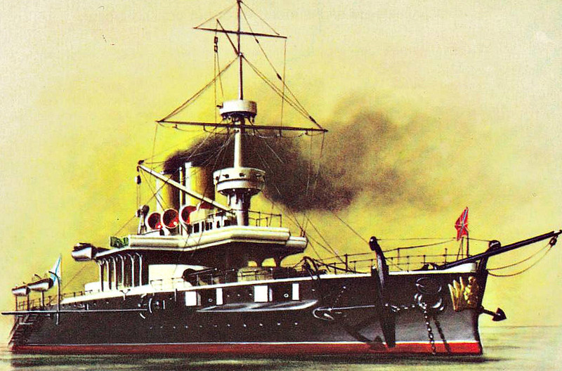 1893 to 1918 - GEORGI POBIEDONOSETS - Sinop Class Battleship - 11940 tons - 103.5 x 21.0 - 1893 Russian Steam Navigation and Trading Co., Sevastopol - 6x305mm, 7x152mm, 8x47mm, 4x37mm, 7TT - 15 knots - 1908 reduced to second line duties, main guns removed, 1914 Headquarters Ship, Sevastopol, 1918 captured by Germans, handed over to British, 1919 sabotaged by retreating British, towed to Bizerte by White Russians, interned, broken up in 1924.