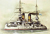 1901 to 1917 - TSESAREVICH - Tsesarevich Class Battleship - 13122 tons - 118.5 x 23.2 - 1901 Compagnie des Forges et Chantiers de la Mediterranee a la Seine, France - 4x12in., 12x6in., 16x3in., 4x47mm, 6x37mm, 6TT - 18.5 knots - 12/03 to Pacific Far East Squadron, 08/02/04 hit by torpedo at Port Arthur, 10/08/04 Battle of the Yellow Sea, badly damaged, interned at Tsingtao, 1905 Baltic, 09/17 trapped in Gulf of Riga by Germans in Operation Albion, 17/10/17 Battle of Moon Sound, escaped form Gulf of Riga, 1917 renamed GRAZDANIN, 1918 hulked, 1922 sold for breaking.