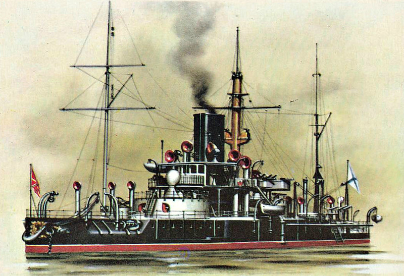 1876 to 1921 - PETR VELIKIY - Tronclas Turret Ship - 10406 tons - 101.7 x 19.2 - 1876 Galerniy Island Shipyard, St Petersburg - 4x305mm, 6x4pdr - 13 knots - 10/1876 Baltic Fleet, 02/04 to 1908 completely rebuilt as Gunnery Training Ship (4x203mm, 6x150mm, 12x75mm, 4x57mm, 8x47mm, 2x37mm), 1917 Submarine Depot Ship, 05/21 hulked, 12/23 renamed BLOKSHIV No.1, 01/32 BLOKSHIV No.4, 05/49 BSH-3, barracks ship, 04/59 scrapped.