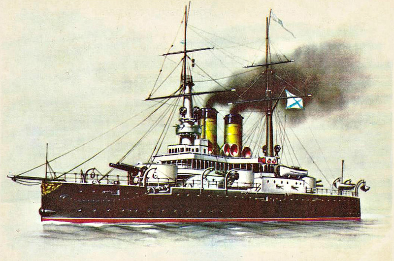 1900 to 1920 - ROSTISLAV - Pre-Dreadnought Battleship - 8880 tons - 107.2 x 20.7 - 1900 Nikolayev Admiralty Shipyard - 4x254mm, 8x152mm, 12x47mm, 16x37mm, 5TT - 15 knots -1900 Black Sea Fleet, 18/11/14 Battle of Cape Sarych, 1916 Army Support operations, 04/18 engines blown up by retreating British, White Russian artillery battery, 11/20 scuttled in Strait of Kerch, 1930 broken up.