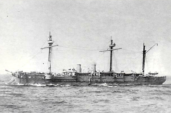 1888 to 1911 - ADMIRAL KORNILOV - Admiral Kornilov Class Protected Cruiser - 5957 tons - 113.0 x 14.8 - 1888 St Nazaire Naval Shipyard - 14x6in, 6x47mm, 10x37mm, 6TT - 17.5 knots - 1908 Torpedo Training Ship, 1911 decommisioned and scrapped - seen here in 1895.