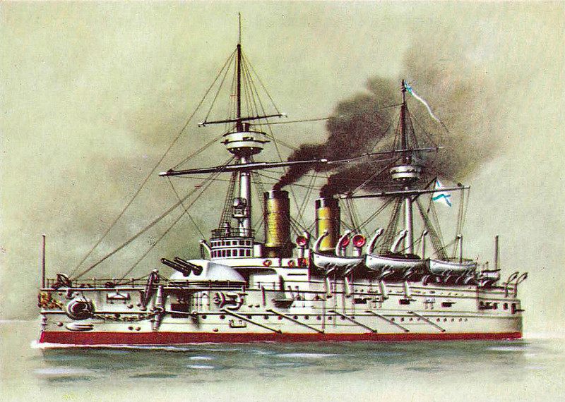 1891 to 1922 - IMPERATOR ALEKSANDR II - Imperator Aleksandr II Class Pre-Dreadnought Battleship - 9392 tons - 105.6 x 20.4 - 1891 Baltic Shipyard, St Petersburg - 1x12in., 4x9in., 8x6in., 10x47mm, 10x37mm, 5TT - 15 knots - 06/95 Opening of Kiel Canal, 08/96 Mediterranean Fleet, 09/01 Baltic, 1904 gunnery training ship, 05/17 renamed ZARYA SVOBODY, 08/22 sold for breaking.