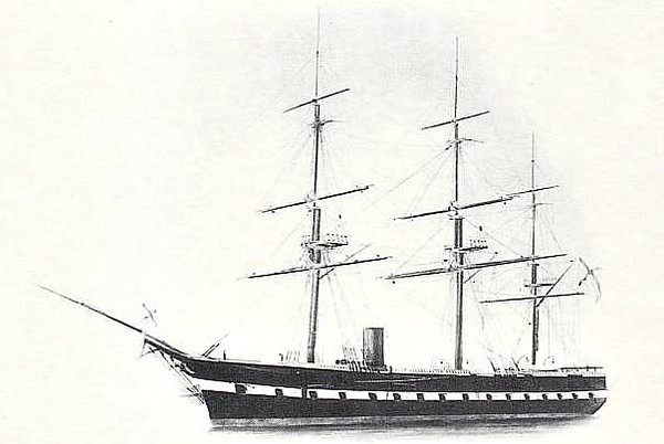 1860 to 1869 - OLEG - Oleg Class Steam Screw Frigate - 57 guns - 1860-61, 1863-65, Mediterranean,1869 sunk in collision.