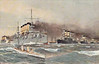 1901 to 1904, 1916 to 1925 - VARYAG - Varyag Class Protected Cruiser - 6500 tons - 129.6 x 15.8 - 1901 William Cramp & Sons, Philadelphia - 12x6in., 12x3in., 8x47mm, 2x37mm, 6TT - 23 knots - 09/02/04 Battle of Chemulpo Bay, attacked Japanese squadron, 31 dead, returned to port and scuttled, raised by Japanese, 07/07 to Japanese Fleet as SOYA, 04/16 returned to Russia, 11/17 seized whilst under overhaul by British, 1920 sold to Germany for breaking, ran aground in Firth of Clyde whilst under tow, scrapped in situ, 1925 sank - seen here leading the Russian Fleet to sea.
