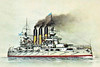 1902 to 1905 - RETVIZAN - Retvizan Class Pre-Dreadnought Battleship - 12912 tons - 117.9 x 22.0 - 1902 William Cramp & Sons, Philadelphia, No.300 - 2x12in., 12x6in., 20x3in., 24x47mm, 6x37mm, 6TT - 18 knots - 1902 Baltic Fleet, 11/02 to Pacific Far East Squadron, 08/02/04 torpedoed at Port Arthur, 08/03/04 refloated, 10/08/04 Battle of the Yellow Sea, hit 18 times, 6 dead, 06/12/04 sunk at moorings by 13 11in. shell hits, 09/05 raised by Japanese, 11/08 commisioned into Japanese Navy as HIZEN, 10/14 Honolulu, watching German gunboat GEIER, 04/22 decommisioned, 07/24 sunk as a target.