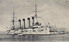 1902 to 1905 - BAYAN - Bayan Class Armoured Cruiser - 7800 tons - 137.0 x 17.5 - 1902 Société Nouvelle des Forges et Chantiers de la Méditerranée, La Seyne - 2x203mm, 8x152mm, 20x76mm, 2TT - 21 knots - 1902 Pacific Sqdn., 09/02/04 Battle of Port Arthur, lightly damaged, 6 dead, then blockaded in Port Arthur, 24/07/04 struck a mine returning to Port Arthur, 12/04 captured, scuttled, on fall of Port Arthur, raised, repaired, 08/05 recommisioned in IJN as ASO, 04/20 Minelayer, 04/31 decommisioned, 08/32 sunk as a target.